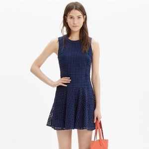 Madewell Eyelet Sunshade Dress in Navy Blue